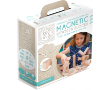 [Cuburi magnetice din lemn natural  - 100 buc]