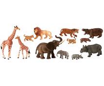 [Animale din plastic - Africa cu pui - 12 buc]