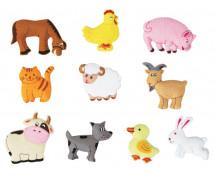 """[Motive din pâslă - Animale de la fermă """"S"""" - 10 bucăți la set]"""