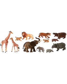 Animale din plastic - Africa cu pui - 12 buc